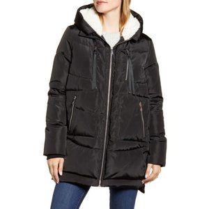 Sam Edelman Black Faux Shearling Puffer Coat Sz XS